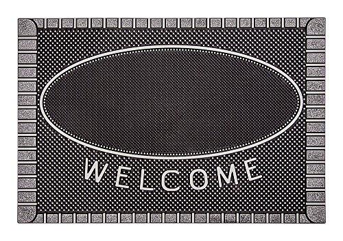 Home2Fashion PUR ScrapClean Design Fußmatte, Schmutzfangmatte, Eingangsmatte für den Innen- und Außenbereich, TPE-VC-Kunststoff, 100 % nachhaltig, Metallic Anthrazit, 59 x 39 cm
