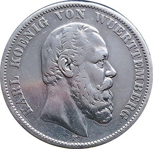 Deutsches Reich / Kaiserreich Münze 5 Mark 1875 F Württemberg Silbermünze - König Karl von Württemberg vz/st *PRACHTEXEMPLAR*