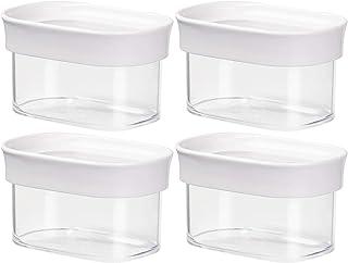 EMSA 513554 OPTIMA Trockenvorratsdose, stapelbar, rechteckig, 0.18 Liter, klar/weiß (4 Stück)