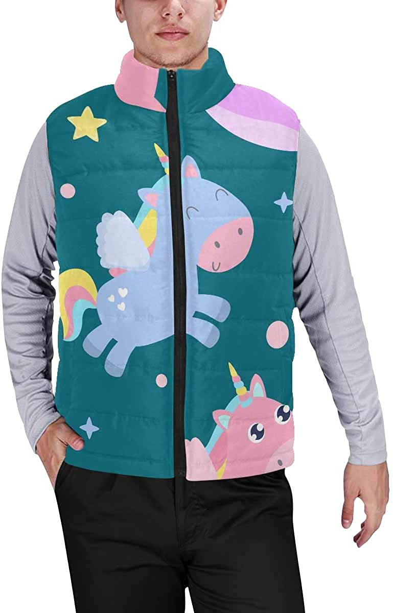 InterestPrint Casual Classic Quilted Sleeveless Vest for Men Magical Creatures S