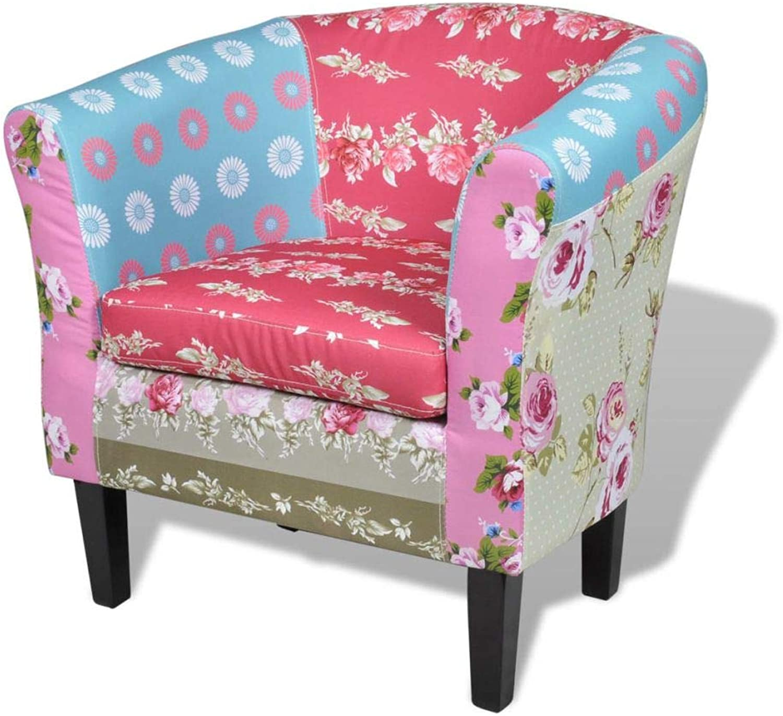 VidaXL Patchwork Arm Chair Vintage Country Armchair Timber Legs Sofa Fabric