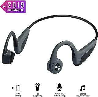 Bone Conduction Headphones - Wireless Earbuds Bluetooth 5.0 Upgraded IP56 Waterproof Sports Bluetooth Earphones w/Mic HD Stereo Sweatproof Premium Sound with Deep Bass for Sport,Lightweight-1.2 oz