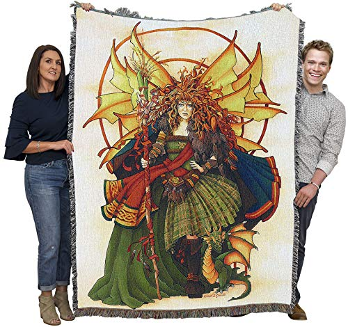 Pure Country Weavers Celtic Fairy - Teri Rosario - Blanket Throw Woven from Cotton - Made in The USA (72x54)