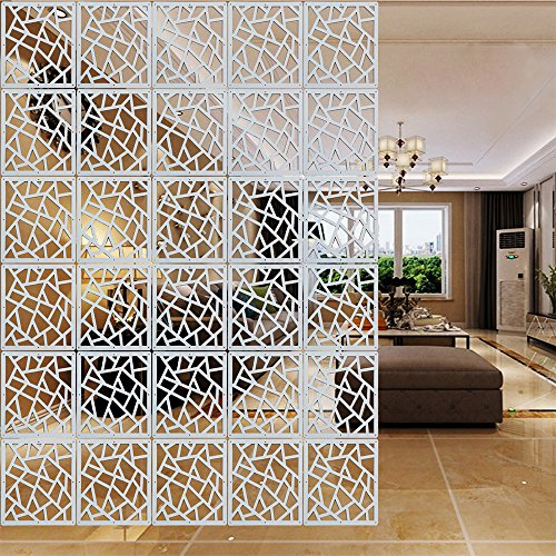 YIZUNNU 12Pcs/Set Room Hanging Screen Divider Panels Home Panel Screen DIY Home Decor 11.4inch White