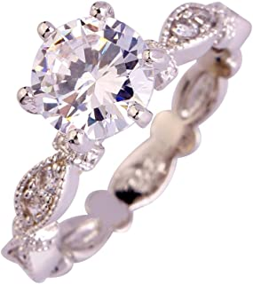 Emsione Women's 925 Silver Plated Round Created White Topaz Cubic Zirconia Infinity Twisted Ring