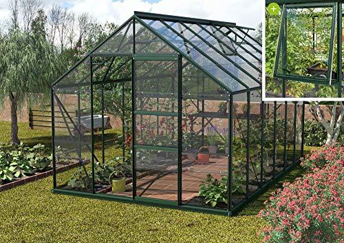 Preisvergleich Produktbild Vitavia Meridian 1 9900 ESG 3 mm,  smaragd Gewächshaus 2 Dachfenster 1 Seitenfenster