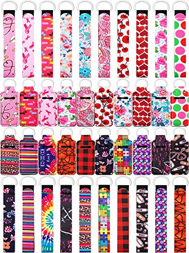 40 Pieces Chapstick Holder Keychains Neoprene Wristlet Keychain Lanyards Neoprene Lip Balm Pouch Protective Cases Vibrant Colors for Girls Women