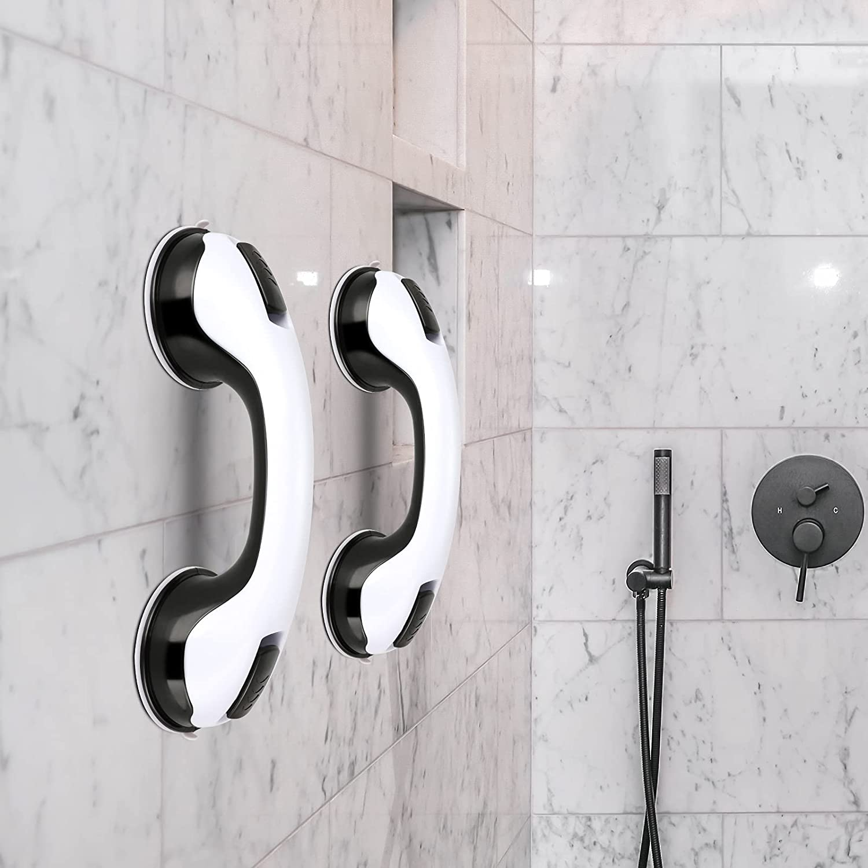 "2 Pack Shower Handle - 12"" Grab Bars for Bathroom & Shower Handles for Elderly, Safety Hand Rail Support, Non Skid"