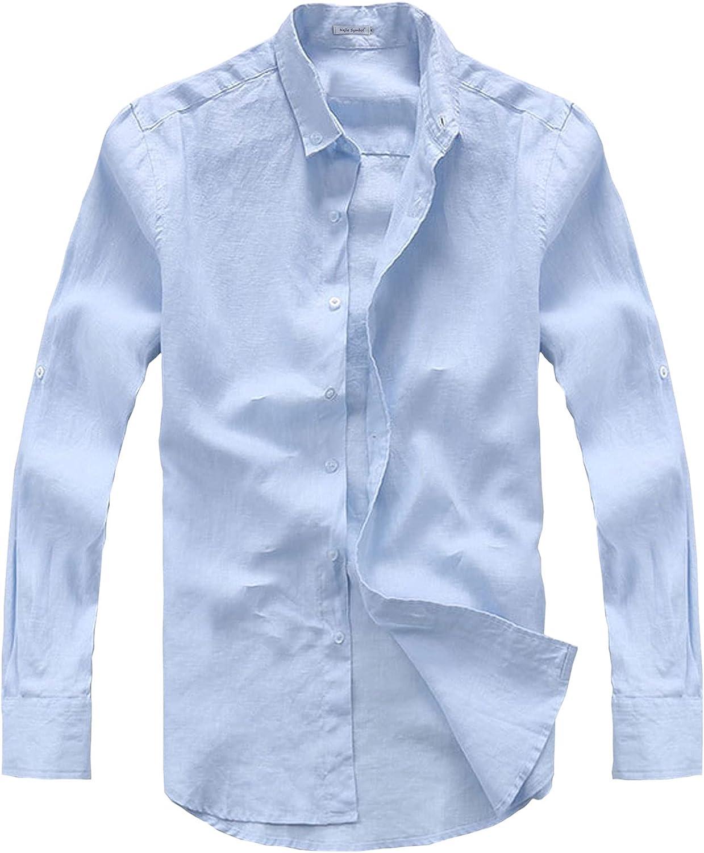 Najia Symbol Men's 100% Natural Linen Fabric Button Down Long Sleeve Shirt