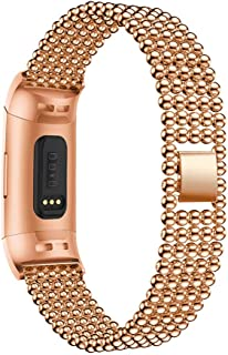 Cathy Clara Wristband Replacement New Stainless Steel Watch Bracelet Band Strap for Fitbit Charge 3 Smart Watches