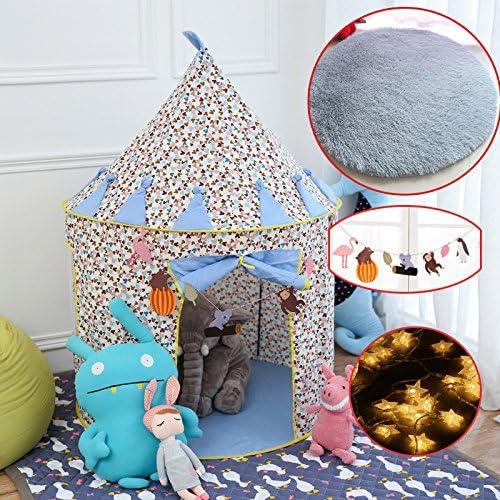 Zhudj pour enfant éducatif Jouets jouet Tente pliante Home Sac de Mongolie, Bleu Mickey gris Tapis étoile lumière Guirlande
