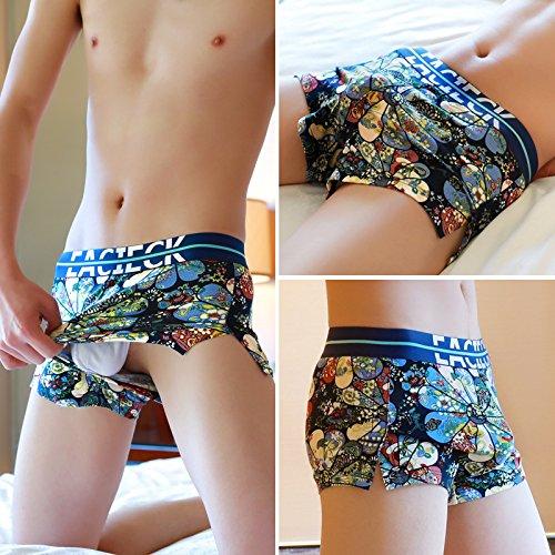 LSRHT Caleçon Homme Angle Plat Coton Jeunesse Taille Moyenne Paquet De 3 Boxers L