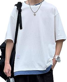 [ベンケ] Tシャツ メンズ 無地 半袖 重ね着風 丸襟 カジュアル カットソー オシャレ 春 夏 五分袖 トップス