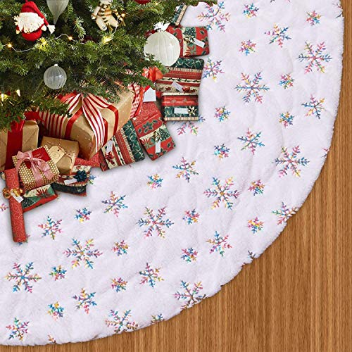 Voyoly Christmas Tree Skirt, 48 Inch White Christmas Tree Decorations Indoor Sequin Tree Collar Faux Fur Chromatic Snowflake Plush Rug Xmas Holiday Party Supplies Large Mat Decor Ornaments 2020