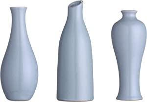 Decorative Vase for Flowers Ceramic, Blue Vase for Décor, Special Design Style of Flambed Glazed, Decorative Modern Floral Vase for Home Decor Living Room Centerpieces and Events, Set of 3