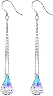 Sterling Silver Drop Dangle Earrings With Color Change Crystal From Swarovski Gifts for Women