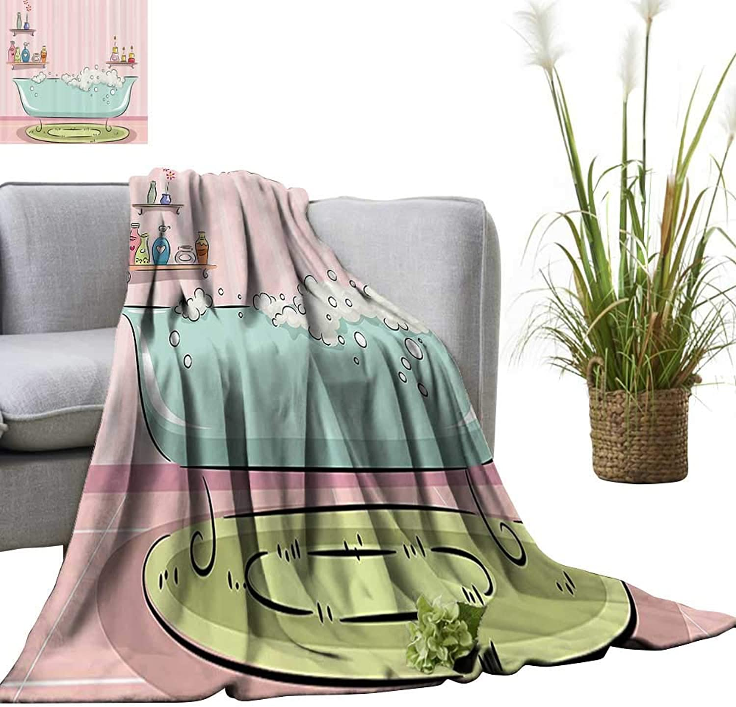 YOYI Baby Blanket ecti of Bathtub with Bubbles in Girly Room Aroma Oil Lamps Aromatherapy Indoor Outdoor, Comfortable for All Seasons 50 x70