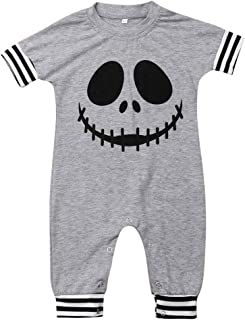 Infant Newborn Baby Boy Halloween Romper Hooded Skull Jumpsuit Bodysuit Pumpkin Pajamas Clothes Outfit