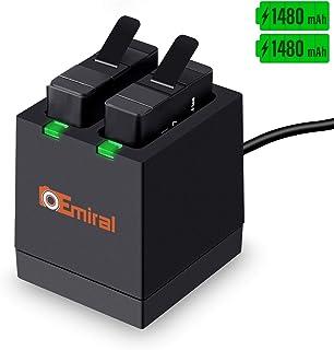 Emiral Baterías de Repuesto (paquete de 2) y Cargador USB LED de 2 Canales para GoPro Hero 5 Black AHDBT-501 Hero (2018) Hero 6 Hero 7 Black