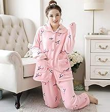 Dames Pyjama Set,Roze Warm Flanel Casual Lange Mouw Revers Dikke Nachtkleding Zachte Lange Broek Loungewear Leuke Herfst W...