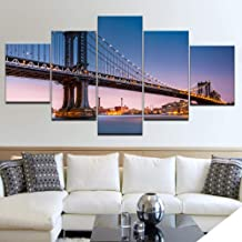 Cuadro sobre Lienzo Canvas HD Prints Pictures Framework 5 Piezas Brooklyn Bridge Sunset Glow City Night View Paintings Home Wall Art Decor Posters 200x100cm