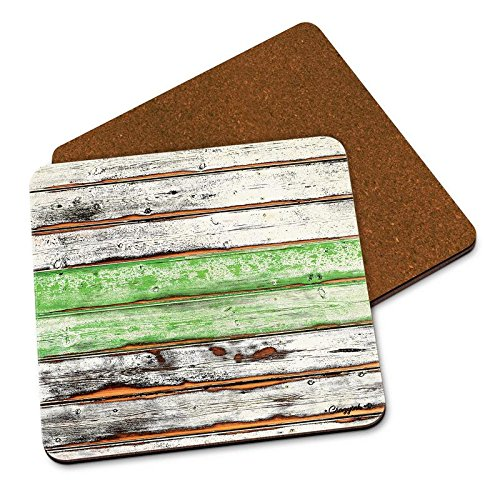 CRAZYINK Green Stipes Wooden Planks Printed Wooden Coasters Set of 2 (4 inch x 4 inch)| Pure Wood | HD Print | Standard Size | Unique for Gift and Home and Office