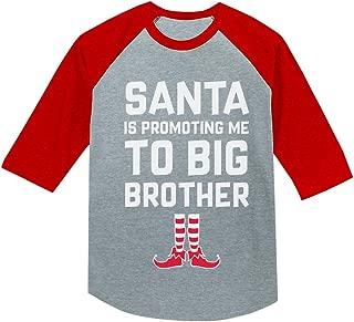 Christmas Promoted to Big Brother Funny 3/4 Sleeve Baseball Jersey Toddler Shirt