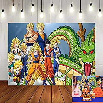 Cartoon Dragon Ball Z Theme Birthday Backdrop 5x3ft Vinyl for Children Boys Happy Birthday Party Banner Supplies Photography Backdrop Baby Shower Decorations Photo Background Booths Studio Props