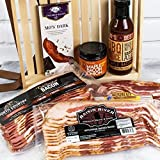American Artisan's Gourmet Bacon and Sauce Gift Basket - Packed to bursting with delicious bacon strips of smoky porcine indulgence ,sauces and Chocolate