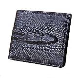 Men's 3-D Alligator Crocodile Design Leather Wallet Jinbaolai Black