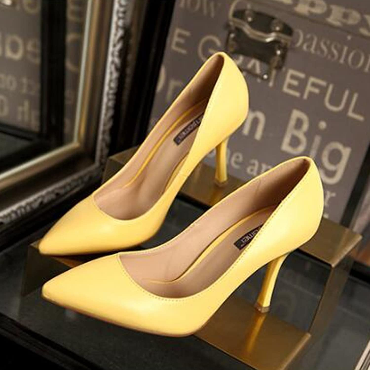 Female Summer Tipped high Heels high Help Sexy fine with Single shoes Work shoes Elegant Leather high Heels (color   Yellow, Size   37)