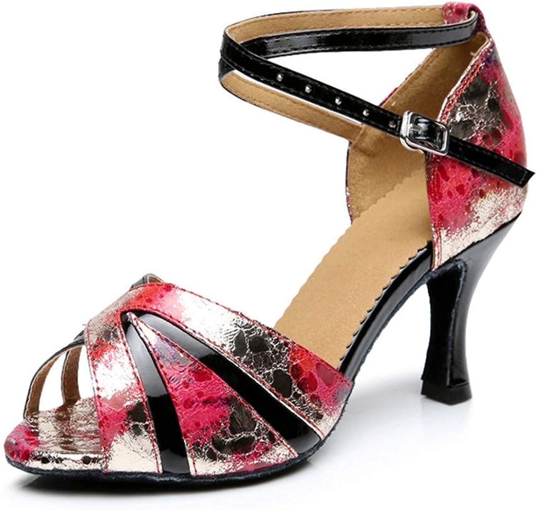 HCCY Farbe Druckschwarzer dünner Gürtel Erwachsene Damen weiche Unterseite hochhackige Latin Dance Schuhe  | Hohe Qualität und Wirtschaftlichkeit  | Feine Verarbeitung