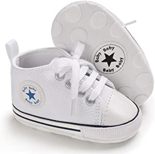 Save Beautiful Baby Girls Boys Canvas Sneakers Soft Sole High-Top Ankle Infant First..