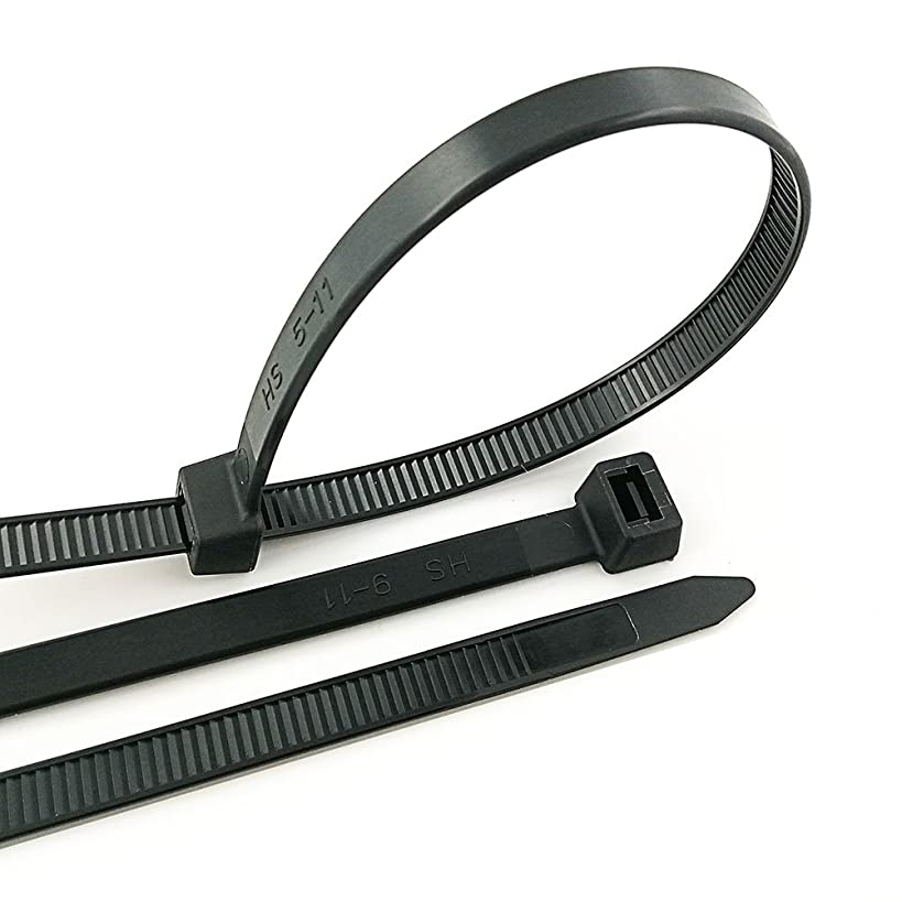 HS Black Zip Ties Heavy Duty 175 Pounds Weather UV Resistant Cable Ties (100 Pack) 0.35 Inch Wide Thick Electrical Zip Ties,Outdoor Indoor Purpose,17 Inch