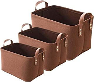 Panier de rangement en feutre, 3 bacs de rangement pliables avec, poignées boîte de débris organisateur durable, pour armo...