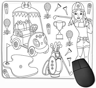 Mouse Pad Black White Golf Set Set Includes Beautiful Young Girl Playing Golf Golf Buggy Clubs Accessories Trophy Golf Rectangle Rubber Mousepad 11.81 X 9.84 Inch