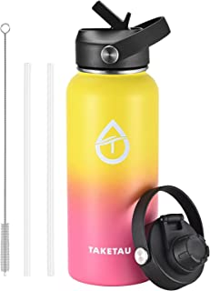 TAKETAU Stainless Steel Insulated Water Bottle with Straw Lid & Spout Lid, 32 oz Double Wall Vacuum Wide Mouth Leakproof W...