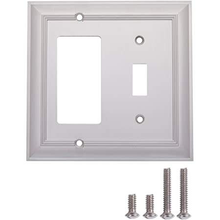 Amazon Basics Toggle And Gang Light Switch Wall Plate Satin Nickel 2 Pack