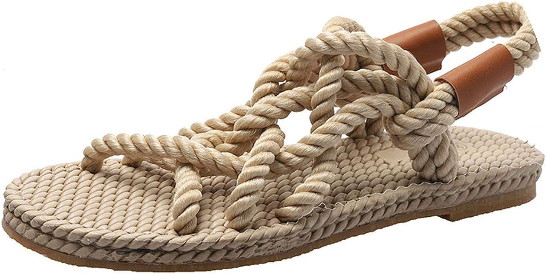 Women Sandals Cross-Tied Platform Sandals Comfortable Vintage Rope Beach shoes,Khaki,7.5