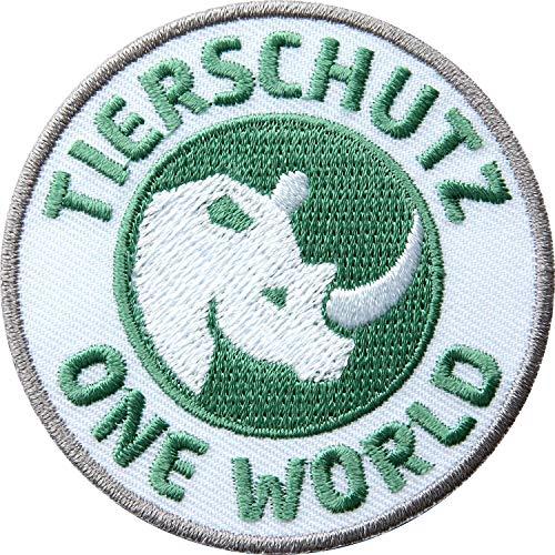 2 x Tierschutz Abzeichen gestickt 60 mm / One World mit Nashorn Symbol für Tier- und Artenschutz / Aufnäher Aufbügler Flicken Sticker Patch für Kleidung Tasche Rucksack / Natur Umwelt save the planet