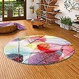 Pergamon Faro - Alfombra de diseño Redonda Tropical Hojas de Colores 3 tamaños