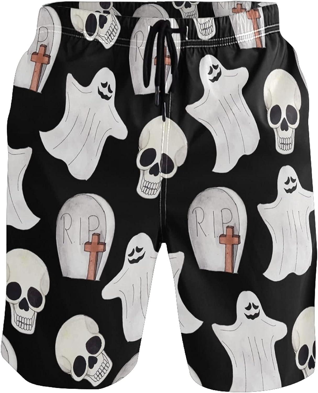 Sinestour Mens Swim Trunks Ghost Skull Happy Halloween Board Shorts Beach Shorts