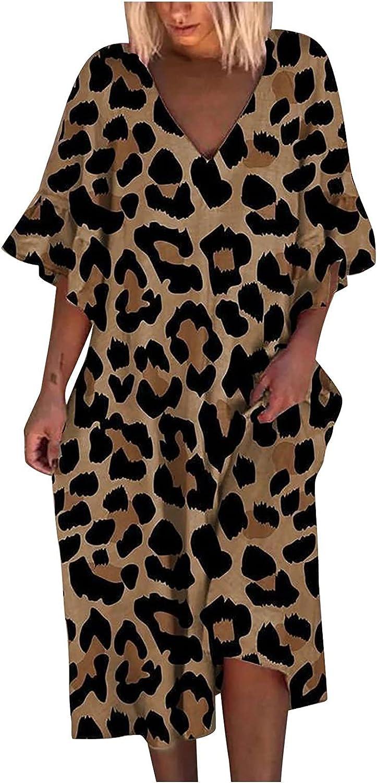 Hengyaai Summer Dress Womens 3/4 Bell Sleeve Loose Leopard Printed Midi Dress Casual V-Neck Short Sleeve A-Line Tunic Dress