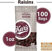 Kar's Natural Raisins Snacks - Bulk Pack of 1 oz Individual Single Serve Bags (Pack of 100)