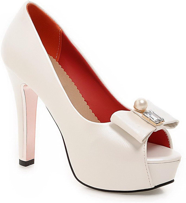 WeenFashion Women's Peep Toe Pull On PU Solid High Heels Sandals