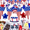 18 Pack Patriotic Party Decoration Kit Patriotic American Flag Pennant Banner Hanging Swirl Red White Blue Star Banner Garland Patriotic Bunting Banner Star Foil Balloons for 4th of July Memorial Day #5