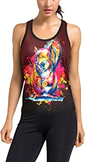 Love Squirrel Watercolor Colorful Splashes Art Women's Racerback Tank Top (Model T60)