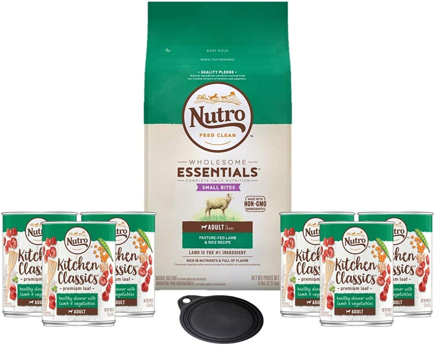 Nutro Dog Food Grain FreeAdult Recipe Lamb & Rice Small Bites Dry Dog Food 15lb Bag 6 Kitchen Classics Adult Wet Dog Food Lamb & Vegetables Dinner 12.5 oz Cans 1 Lid 1 Dog Toy