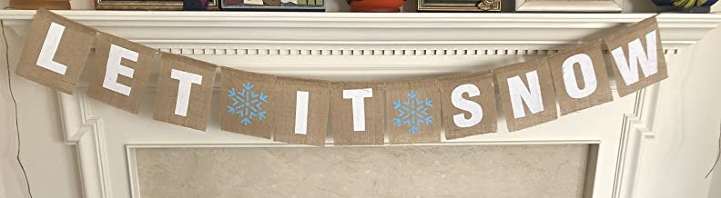 LET IT Snow Christmas Banner - Ready to Hang Holiday Decor - Festive Burlap Seasonal Winter Decoration - Frozen Theme Part...