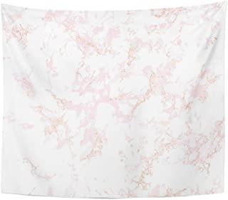 Emvency Tapestry Trendy Pink Marble Rose Gold Patina Effect Overlay Distress Grain Sequin Holiday Blush Color Home Decor Wall Hanging Living Room Bedroom Dorm 50x60 inches